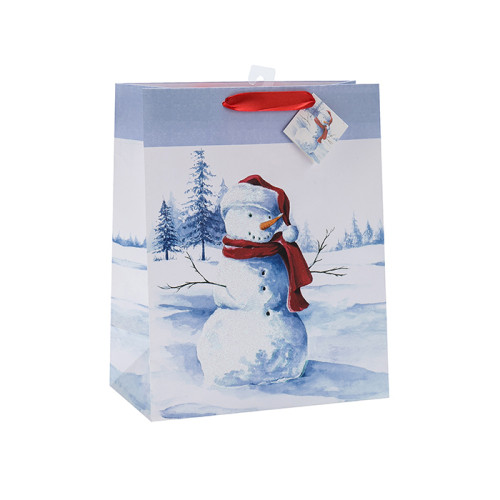 Bolso de papel del regalo de la Navidad del brillo de la moda con 4 diseños clasificados en embalaje de la llave