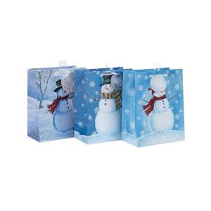 Bolsa de papel impresa decorativa colorida del regalo de la Navidad del proveedor chino con 3 diseños clasificados en embalaje de la llave