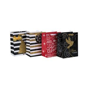 La venta caliente de la Navidad del diseño de lujo recicla las bolsas de papel del regalo al por mayor con 4 diseños clasificados en embalaje de la llave