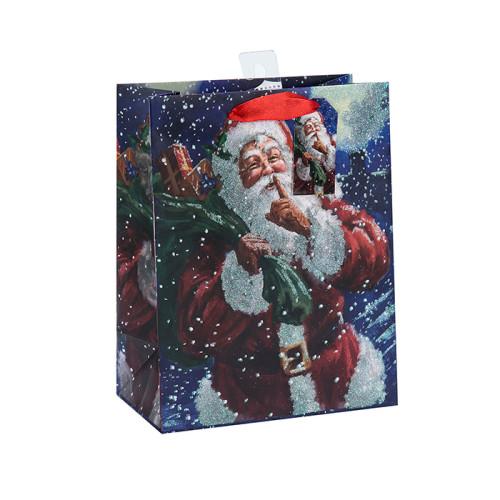 Schöne Weihnachten Fancy Design Printed Dekoration Geschenk Papiertüte mit 3 Designs Assorted in Tongle Verpackung