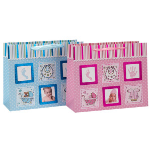 Bolso de papel lindo del regalo del diseño de la foto del bebé con la manija de la cinta en el embalaje de la llave