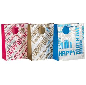 Sac de papier de cadeau d'anniversaire de estampillage chaud de conception de mode avec la poignée de corde dans l'emballage de Tongle