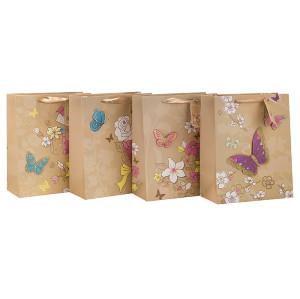 Qualitäts-Dekorations-Blumen-Muster-Brown-Kraft-Geschenk-Papiertüte mit 4 Entwürfen sortierte in der Tongle-Verpackung