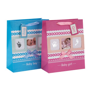 Baby Photo Design Ribbon Handle Baby Gift Bolsa de papel en Tongle Packing