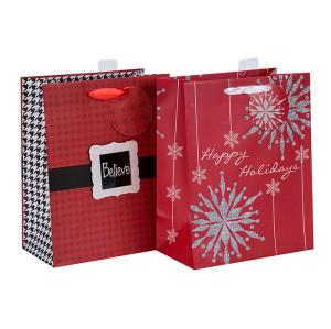 Bolso de compras de papel de la Navidad de la calidad excelente vendedor caliente en venta con 2 diseños clasificados en embalaje de la llave