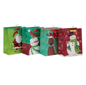 Date de Vente Supérieure Qualité Fantaisie Conception Papier De Noël Cadeau Sac avec 4 Dessins Assortis en Tongle Emballage