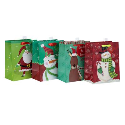 La bolsa más nueva del regalo de la Navidad del papel del diseño de la calidad superior vendedora superior con 4 diseños clasificados en el embalaje de la llave