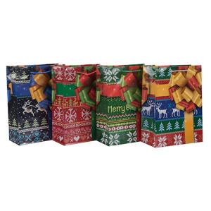 ファッションスタイルハンドメイドクリスマスペーパーギフトバッグ4つのデザインとTongleパッキングで盛り合わせ