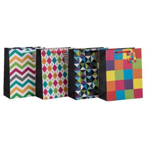 ファッショナブルな抽象的なパターン折り畳み式リボンハンドルギフト紙袋は、Tongleパッキング