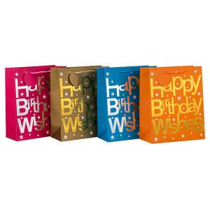 Le luxe chaud emboutissant le joyeux anniversaire souhaite le sac de papier de cadeau dans l'emballage de Tongle