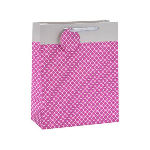 Bolsa de papel plegable de moda del regalo de la manija de la cinta con la etiqueta de papel en el embalaje de la palanca