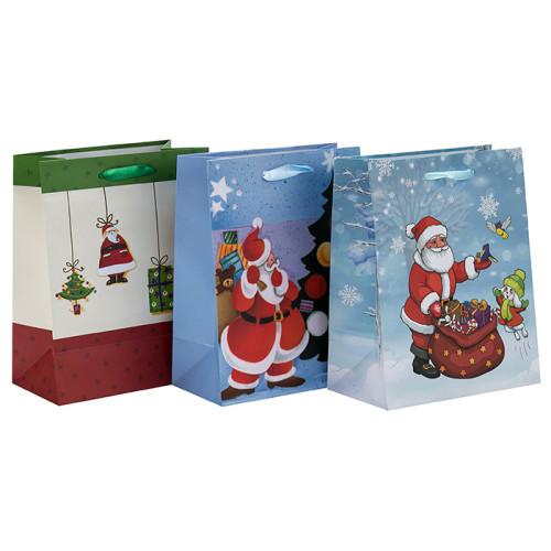 Mode Custom Printing Craft Weihnachten Papier Geschenk-Taschen mit 3 Designs Assorted in Tongle Verpackung