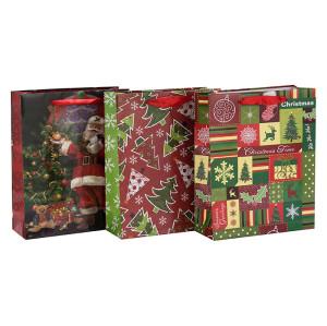 Sacs faits sur commande de papier de Noël de stratification d'impression offset de coutume dans l'emballage de Tongle