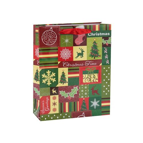 Bolsas del regalo del papel de la Navidad de la laminación mate de la impresión en offset personalizada en el embalaje de la llave