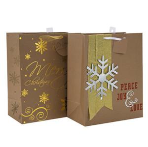 新しい到着魅力的なスタイルのペーパークリスマスバッグは、2つのデザインで販売販売Tongleパッキングで盛り合わせ