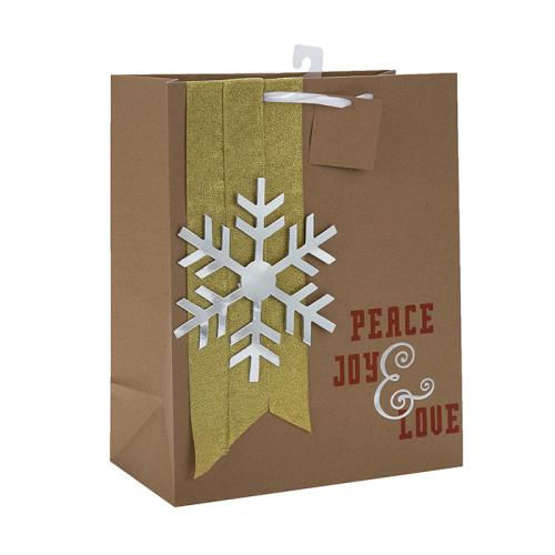 Bolso de Navidad de papel atractivo de la nueva llegada en venta con 2 diseños surtidos en embalaje de la llave