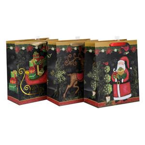 Späteste Ankunfts-einzigartige Entwurfs-Weihnachtsgeschenk-Taschen mit unterschiedlicher Größe mit 3 Entwürfen sortierte in der Tongle-Verpackung