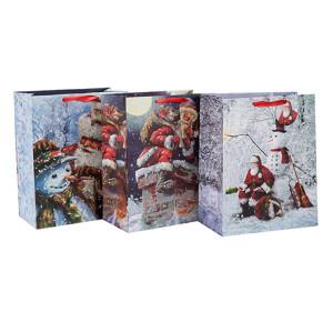2018 Noël fantaisie Design artisanat imprimé sac en papier avec différentes tailles avec 3 dessins assortis en Tongle emballage