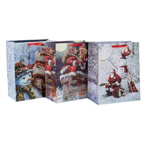 2018 Christmas Fancy Design Crafts Bolsa de papel impresa con diferentes tamaños con 3 diseños surtidos en embalaje de palanca