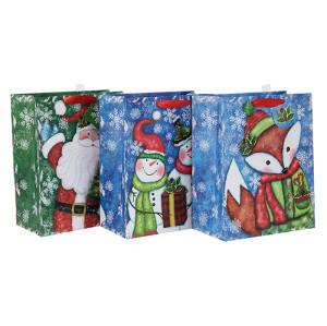 Dernier sac de paquet de papier de cadeau de Noël décoratif de qualité excellente avec la taille différente avec 3 conceptions assorties dans l'emballage de Tongle