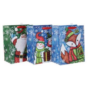 Neueste ausgezeichnete Qualität dekorative Weihnachtsgeschenk Papier Paket Tasche mit unterschiedlicher Größe mit 3 Designs in Tongle Verpackung sortiert