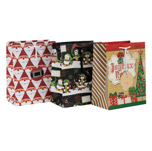 Bolsos al por mayor del regalo de la Feliz Navidad de la impresión en offset al por mayor con la etiqueta de papel en el embalaje de la palanca