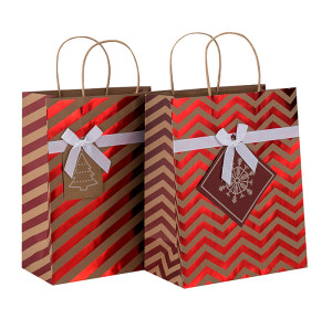 De haute qualité décorative estampage à chaud Noël Brown Kraft papier cadeau sac en Tongle emballage