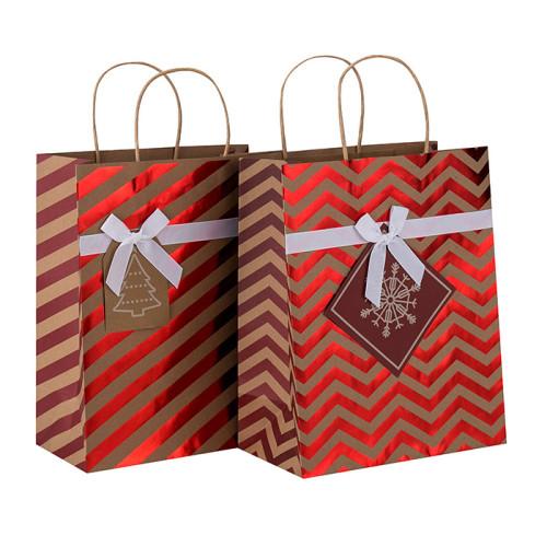 Hohe Qualität Dekorative Heißprägen Weihnachten Braun Kraftpapier Geschenkbeutel in Tongle Verpackung
