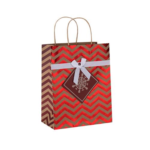 Estampado en caliente de alta calidad de la Navidad que sella el bolso del regalo del papel de Kraft de la Navidad en el embalaje de la llave