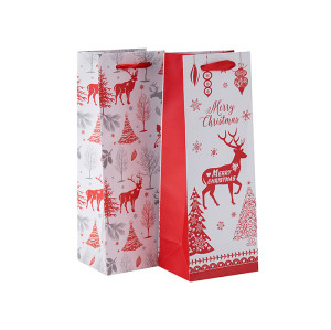 Custom Size Logo Printing Handled Elegant Packaging Single Wine Bottle Paper Bag in Tongle Packing