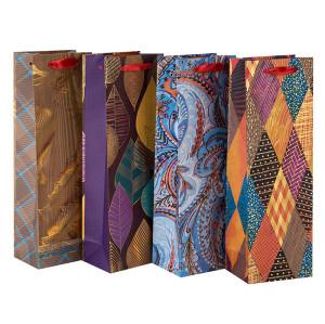 L'emballage en gros de cadeau de luxe d'usine coutume a imprimé les sacs à vin de papier de bouteille dans l'emballage de Tongle