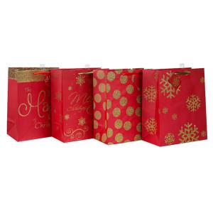 Hohe Qualität Papiertüte mit Griffen Weihnachtsgeschenk Papiertüte mit unterschiedlicher Größe mit 4 Designs Assorted in Tongle Verpackung