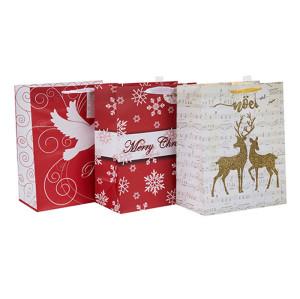 紙袋カスタムプリントロゴギフトバッグ3種類のデザインと異なるサイズのクリスマスペーパーバッグTongleパッキングで盛り合わせ