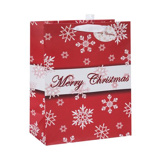 Bolso de papel personalizado Logotipo de la bolsa de regalo Bolsa de papel de la Navidad con diferente tamaño con 3 diseños surtido en embalaje de la llave