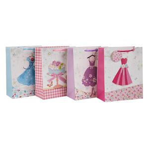 Rohstoffe der Papiertüte Papiertüte Custom Print Factory Preis mit unterschiedlicher Größe mit 4 Designs Assorted in Tongle Verpackung