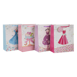 Materias primas del precio de fábrica de encargo de la impresión del bolso de papel de la bolsa de papel con diverso tamaño con 4 diseños clasificados en embalaje de la llave