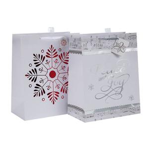 La bolsa de papel del lazo de la Navidad empaqueta la venta al por mayor del bolso con diverso tamaño con 2 diseños clasificados en embalaje de la llave