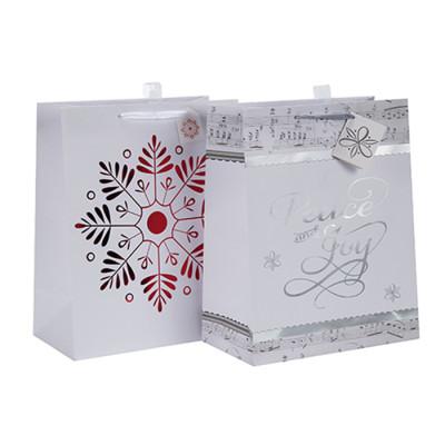Weihnachtspapiertüte Drawstring Geschenktüte Großhandel mit unterschiedlicher Größe mit 2 Designs Assorted in Tongle Verpackung