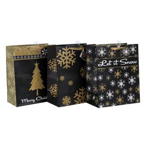 中国の工場紙袋卸売クリスマスペーパーバッグは、3つのデザインと異なるサイズのTongleパッキングで盛り合わせ