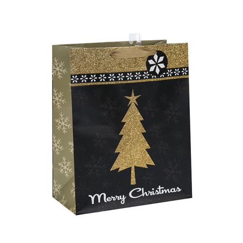 Bolso de papel al por mayor de la Navidad de la bolsa de papel de la fábrica de China con diverso tamaño con 3 diseños clasificados en embalaje de la llave