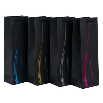 Bolso de papel impreso de lujo al por menor de encargo del regalo para embalar los vinos con 4 diseños clasificados en embalaje de la llave