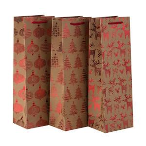 卸売カスタムサイズは、タングルパッキングのエレガントな包装シングルワインボトルクラフト紙袋を処理
