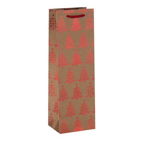 Großhandelsgewohnheits-Größe behandelte elegante Verpacken-einzelne Wein-Flaschen-Kraftpapier-Taschen in der Tongle-Verpackung