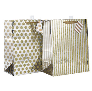 Custom Ribbon Griff Ausgezeichnete Design Papiertüte mit unterschiedlicher Größe mit 2 Designs Assorted in Tongle Verpackung