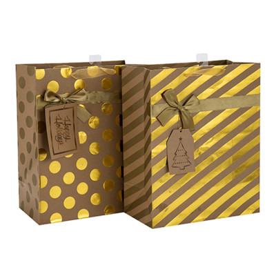 Tragbare Weihnachtsgeschenk Verpackung Schöne Druck Papiertüte mit unterschiedlicher Größe mit 2 Designs Assorted in Tongle Verpackung