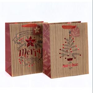 Le cadeau portatif de Noël emballant le beau sac de papier d'impression avec la taille différente avec 2 conceptions assorties dans l'emballage de Tongle
