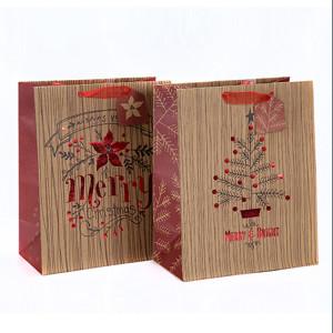 Портативная рождественская подарочная упаковка Красивая бумажная сумка для печати с разным размером с 2 дизайнами в ассортименте