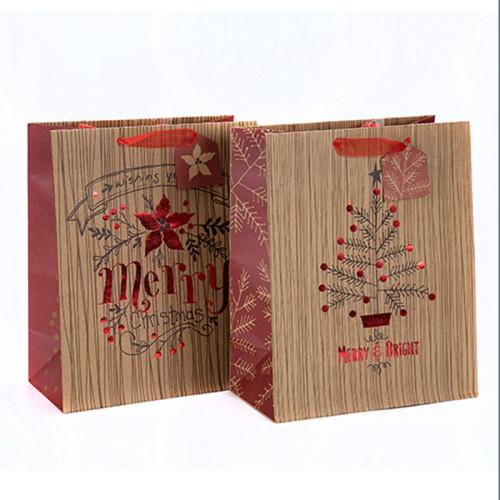 Empaquetado portátil del regalo de la Navidad Bolsa de papel hermosa de la impresión con diverso tamaño con 2 diseños clasificados en embalaje de la llave