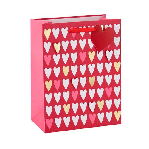 Estampado en caliente 3D corazón patrón de color rojo bolsas de papel de regalo con 2 diseños surtidos en Tongle Packing
