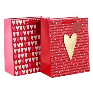 Estampado en caliente feliz Día de San Valentín 3D bolsas de regalo del corazón con 2 diseños surtidos en Tongle Packing